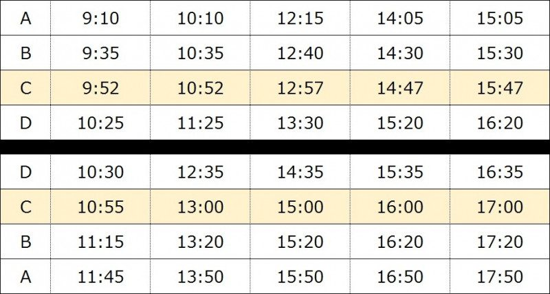 Seibu Tour Bus – Timetable (January 1st through February 28th, 2017)