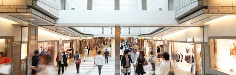Mega underground shopping complex 「CRYSTA NAGAHORI」 .  A great place to shop and escape the harsh heat and heavy rain!
