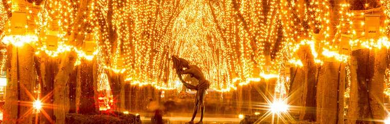 2017 will mark the 32st anniversary of the Pageant of Starlight. Each year 600,000 lights, called Starlight Leaves, illuminate the trees that line downtown Sendai's Jozenji-Dori.
