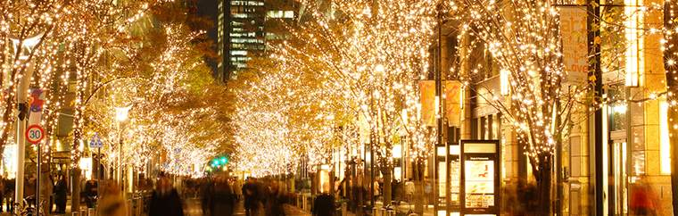 "Marunouchi's annual winter scenery event, Marunouchi Illumination 2018, starts this year from November 8th (Thursday). Between the shops along the 1.2 kilometers of Marunouchi Naka-Dori, and the over 200 trees along Otemachi Naka-Dori, over 100 million LED lights in the Marunouchi-original ""champagne gold"" color light up the area to make a spectacular Christmastime cityscape."