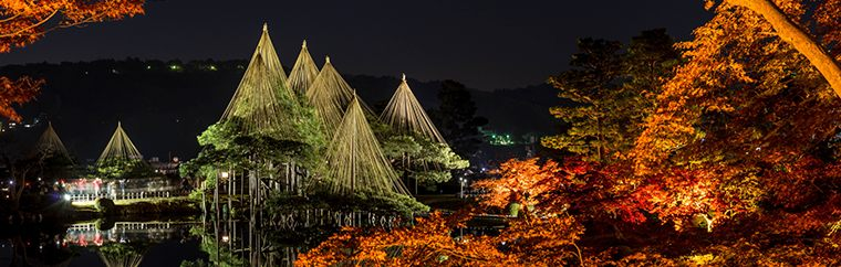 Kenroku-en, which is one of the Three Great Gardens of Japan, as well as the adjacent Kanazawa Castle Park and Gyokusen'inmaru Garden, are lit up at the peak of autumn leaves changing! Visitors can enjoy this fantastical night scenery, which is something that you can only see in the late autumn.