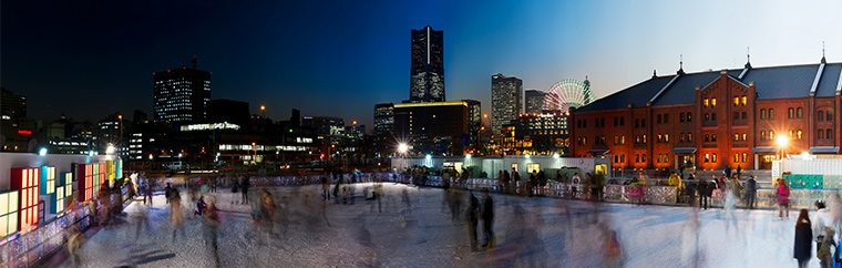 "Yokohama's famous tourist spot, the ""Yokohama Red Brick Warehouse,"" is hosting open-air ice skating! Each year different artists use the entirety of the skating rink as a blank canvas to use as they see fit."