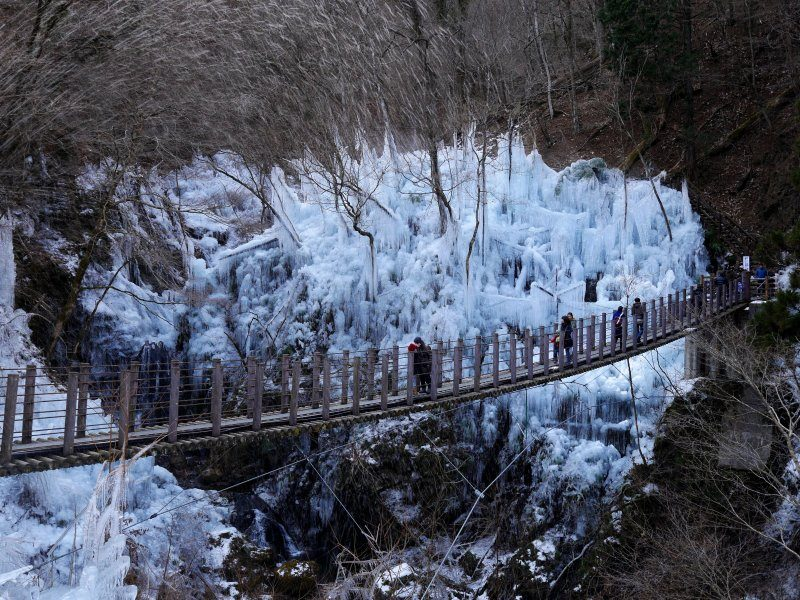 Man-made icicles created by locals cover the area.