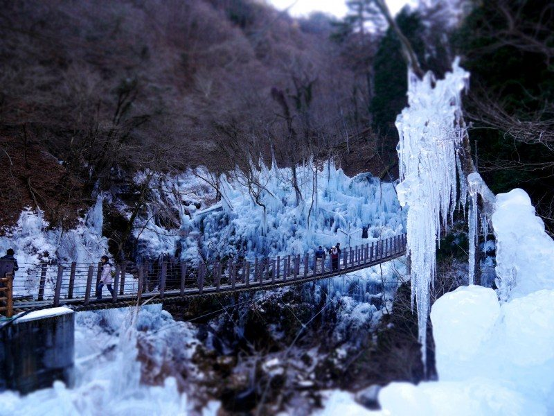 The view of the icicle formations from atop the suspension bridge.