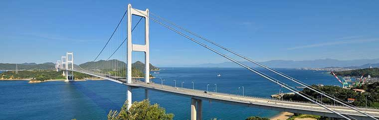 Shimanami Kaido, also known as the Nishiseto Expressway, connects Onomichi, Hiroshima Prefecture, and Imabari, Ehime Prefecture, via 6 islands.