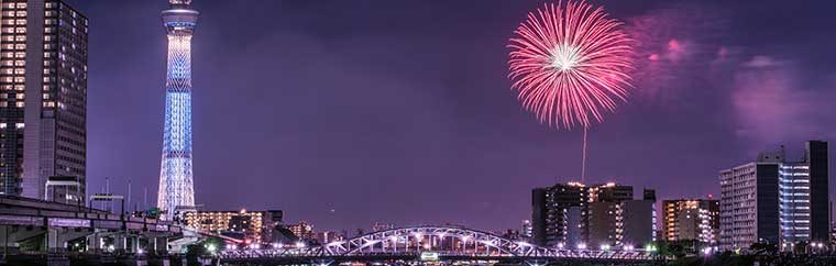 This festival is held every year on the last Saturday of July next to the Sumida River (Asakusa, Mukojima area). It's one of the largest and most famous fireworks festivals in all of Tokyo, attracting massive crowds. If you're lucky, you might even be able to get the fireworks and the Tokyo Skytree in one picture!