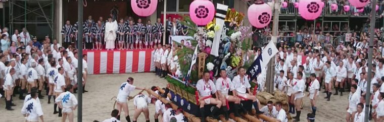 "A Festival Registered as a UNESCO World Intangible Heritage in 2016. Hakata Gion Yamakasa is a Shinto festival of Kushida Shrine in Fukuoka City's Hakata-ku. The festival's formal name is Kushida Jinja Gion Retsu Oomatsuri. It is a powerful festival, where a large number of men carry wheel-less mikoshi shrines on their shoulders throughout Hakata-ku. There are various theories on the festival's origins, but supposedly it began in 1241 when holy water was sprinkled across town from atop a float to drive away an epidemic. Various events take place every year from July 1st through the 15th. Here we will introduce some of the highlights, like ""Oiyama,"" ""Oiyama Narashi,"" and ""Shudan Yamamise."""