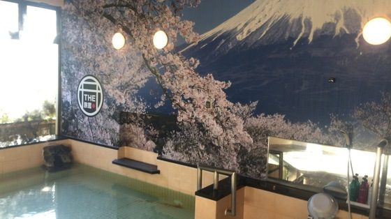 Painting of Mt. Fuji on the Onsen Wall