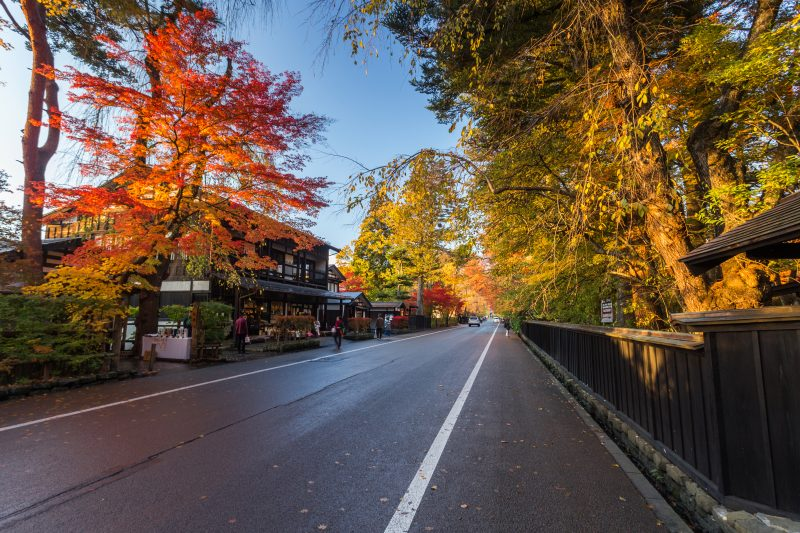 Bukeyashiki Street aflame with fall colors