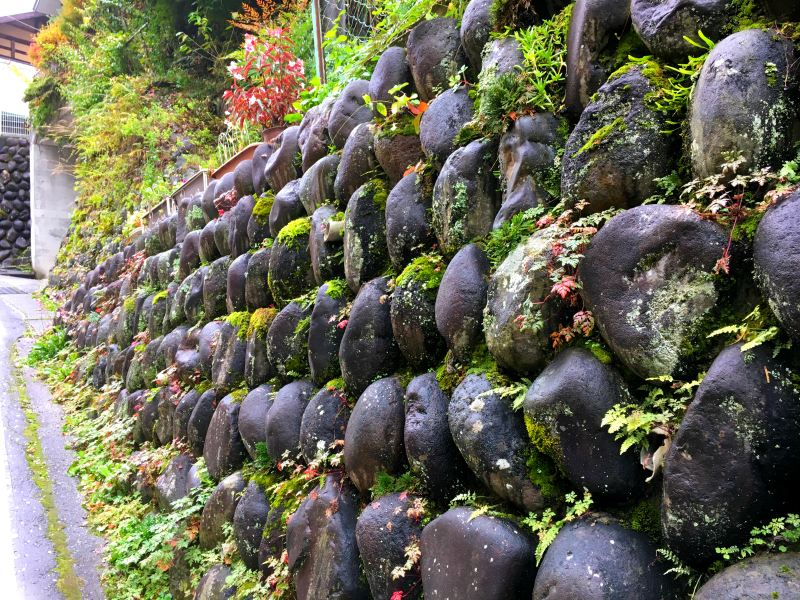Moss-covered stone wall