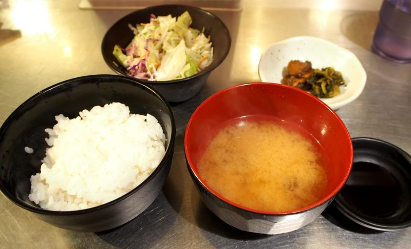 rice, salad, pickles,miso soup