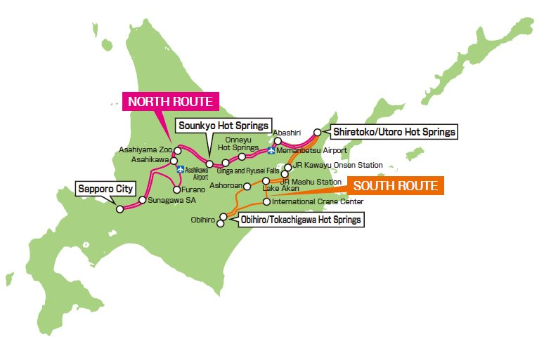 The service route of the Eastern Hokkaido Sightseeing Bus