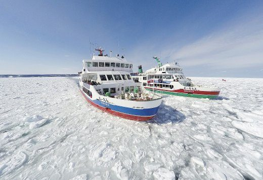 Sightseeing ships smash through a sea of ice extending as far as the eye can see!