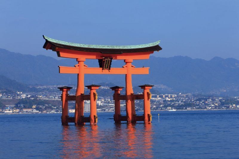 The Torii Gate of Itsukushima Shrine looks just like it's floating on the water!