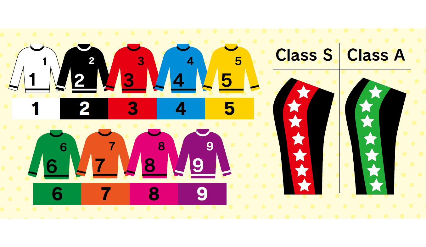 There are nine types of uniforms. The color of the shorts shows the racer's rank.