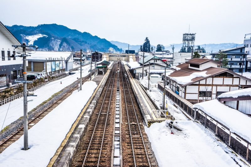 This was the view from the overpass above Hida Furukawa Station's platform.