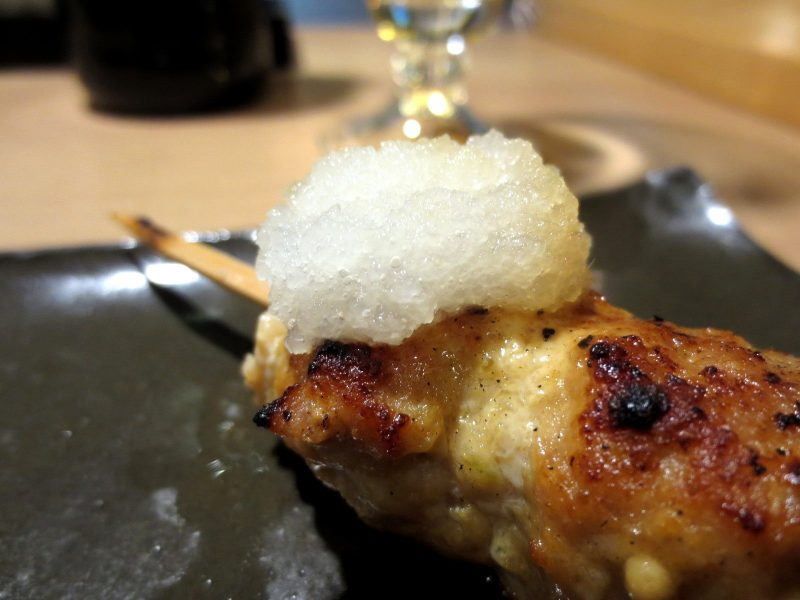 Tsukune topped with grated daikon radish