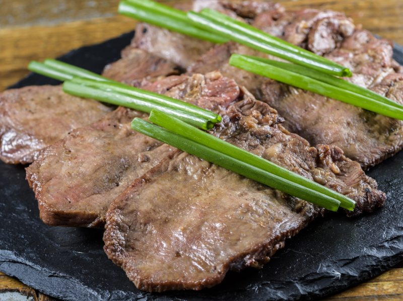 The texture of the fresh green onion on top pairs perfectly with the beef tongue!
