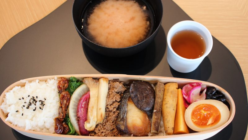 Ancient Seed Vegetable Bento 1,800 yen (tax excl., comes with miso soup)※Contents vary seasonally.