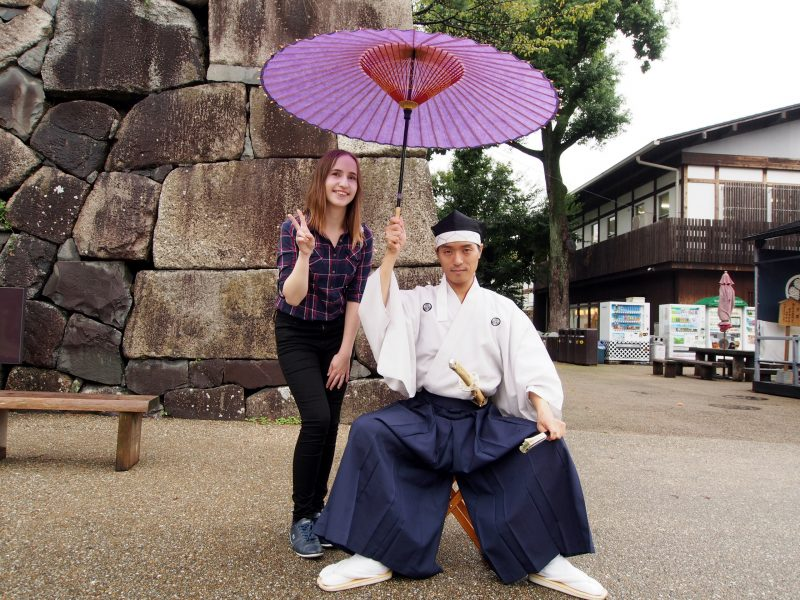 A photo with someone dressed in old-style Japanese clothes!