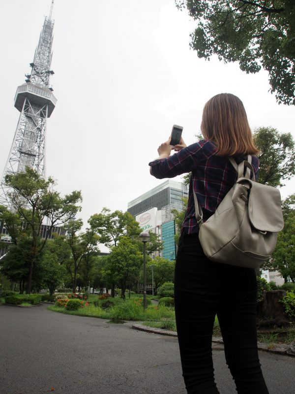 Taking a picture of Nagoya TV Tower, one of Nagoya's iconic structures