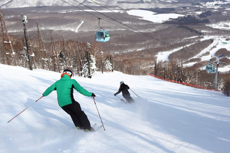 The carefully groomed slopes of compacted snow are great for smooth skiing.