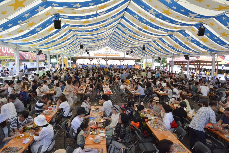 A bustling large-scale beer garden