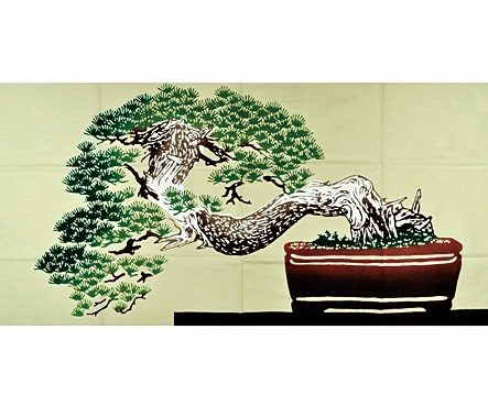Bonsai-themed hand towels are a popular souvenir