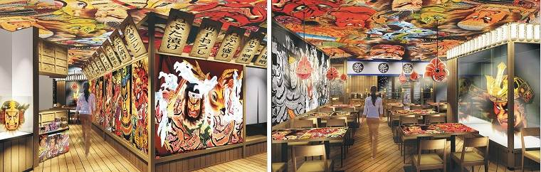 "On December 27th of 2018, the izakaya ""Aomori Nebuta World Shinbashi Store"" opened. The restaurant is themed after the famous ""Aomori Nebuta Matsuri,"" a festival held in Aomori Prefecture, and the interior decorations beautifully capture the moving atmosphere of the festival!"