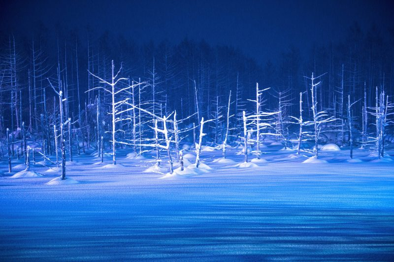The winter scenery of the Blue Pond is wrapped in mysterious beauty