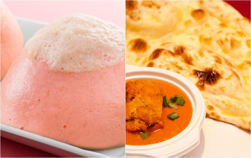 Mt. Fuji shiba-sakura anman and butter chicken curry with naan set
