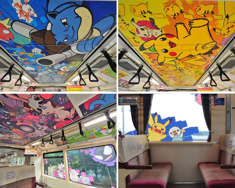 On both the ceilings and the windows, Pokémon characters are drawn everywhere!