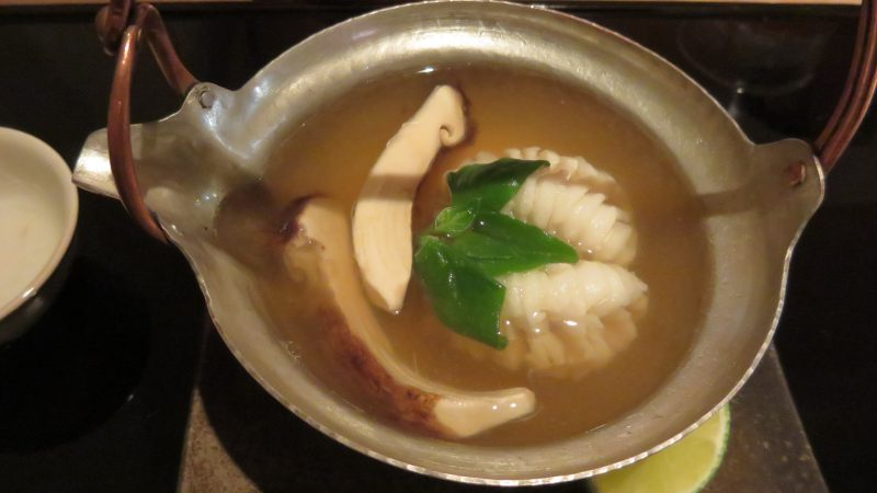 Pike conger with matsutake mushrooms, steamed together in an earthenware pot.