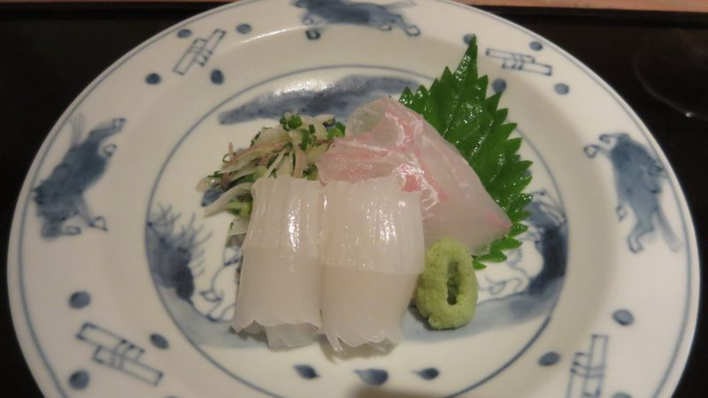 Squid and flounder sashimi.